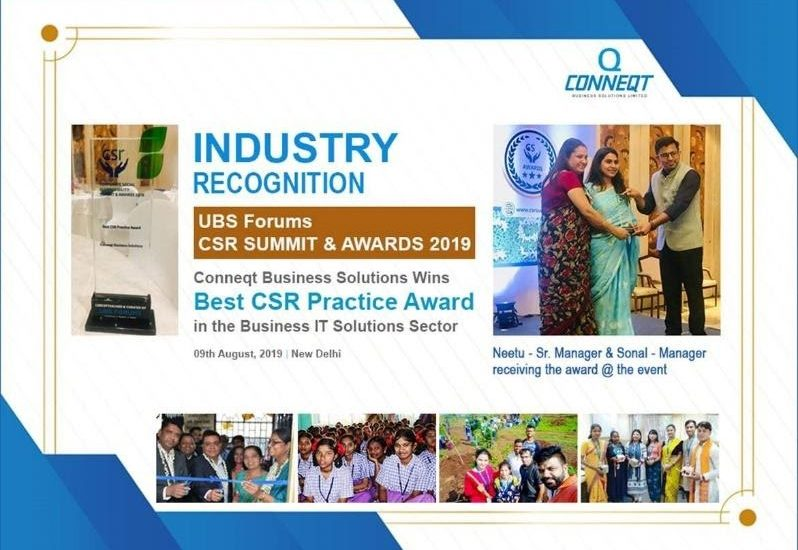 Conneqt won the Best CSR Practice Award in the Business IT Solutions Sector @ UBS Forums CSR Summit & Awards 2019